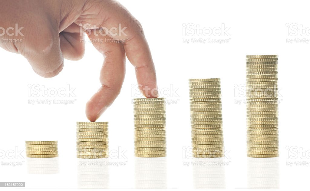 Euro cents and hand royalty-free stock photo