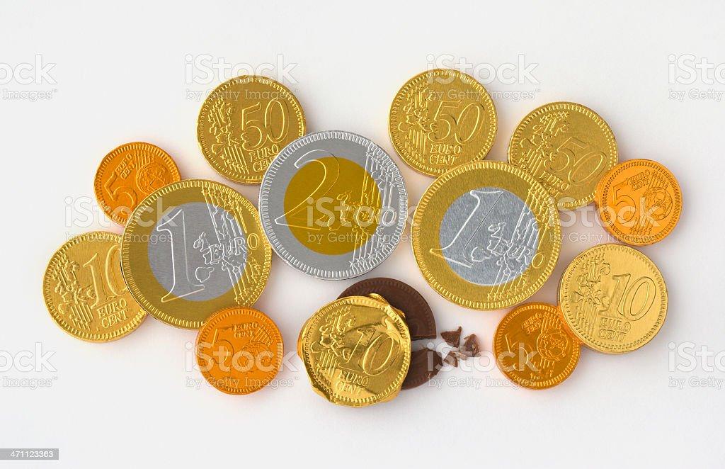 Euro Chocolate Coins royalty-free stock photo
