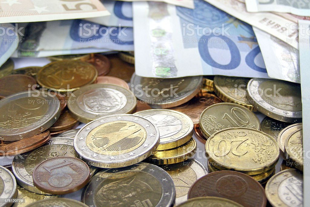 Euro coin and note royalty-free stock photo