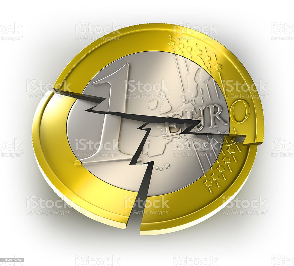 Euro coin breaking, isolates with clipping path royalty-free stock photo