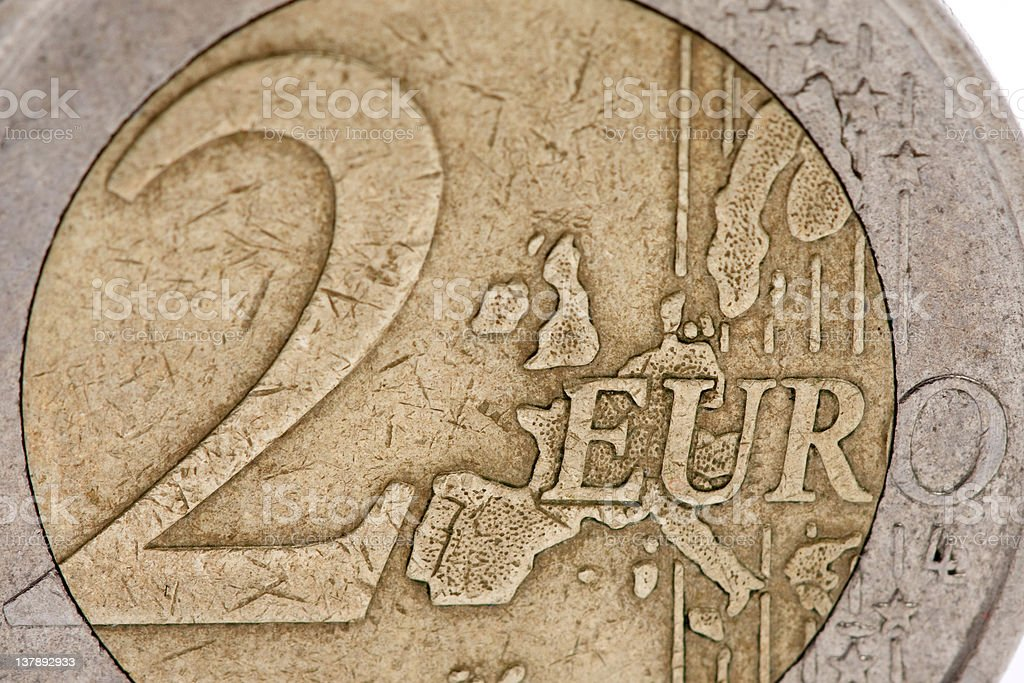 2 euro coin close-up stock photo