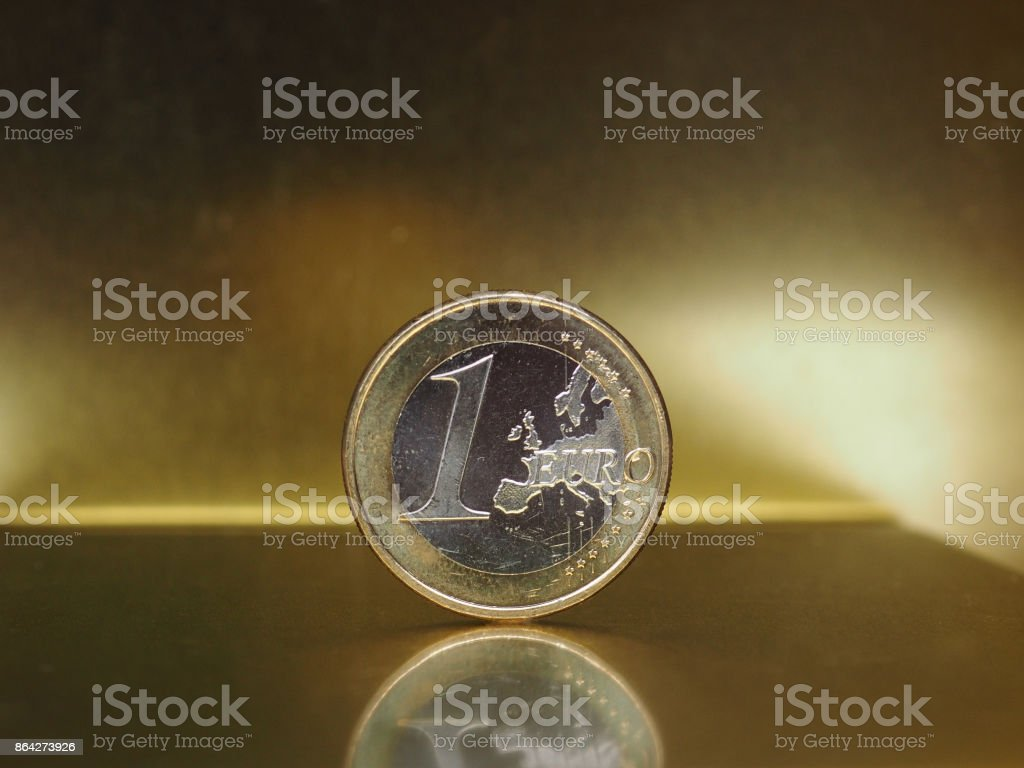 1 euro coin, European Union over gold background royalty-free stock photo