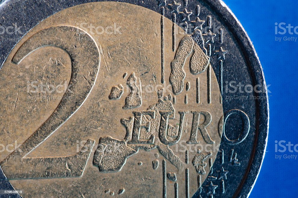 2 Euro coin, front side stock photo