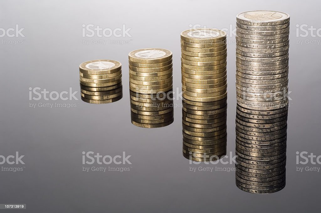 Euro coin graphic with colums on black royalty-free stock photo