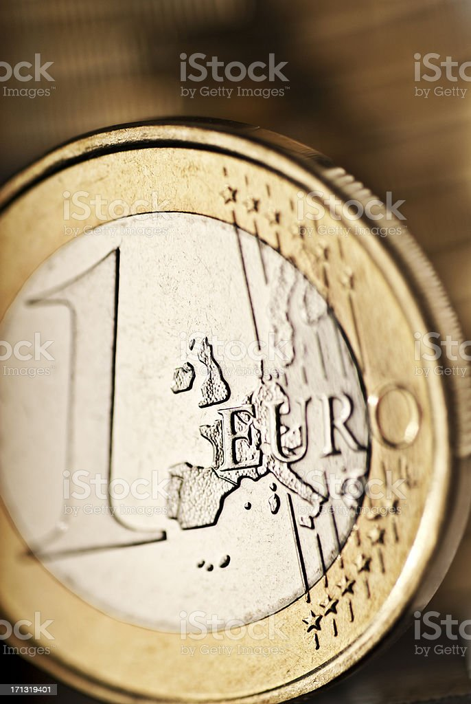 Euro coin in detail stock photo