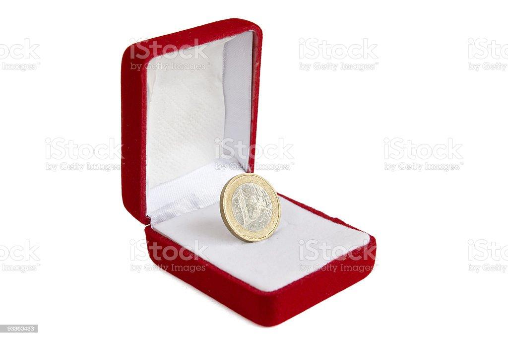 Euro coin in jewelry box stock photo
