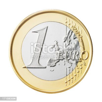 A one euro coin isolated on white background.