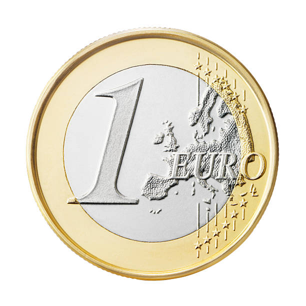 Euro coin (+clipping path) A one euro coin isolated on white background. european union currency stock pictures, royalty-free photos & images