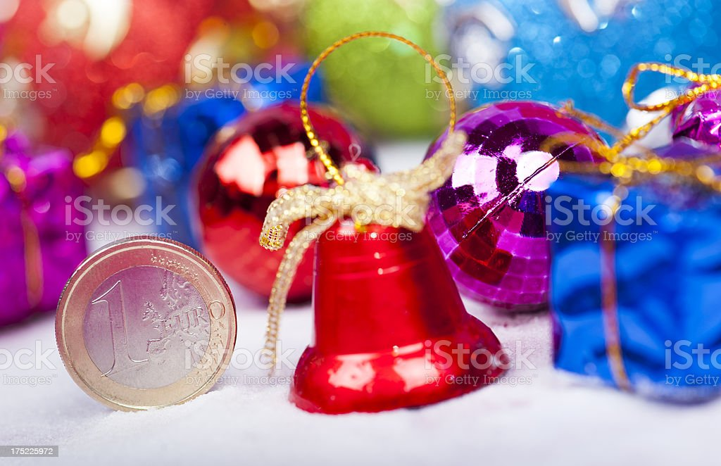 Euro coin with Christmas bell royalty-free stock photo