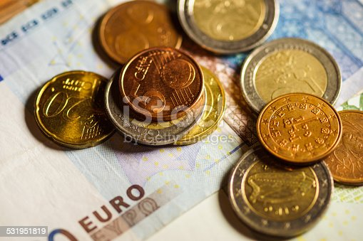 istock Euro coins and banknotes money. 531951819