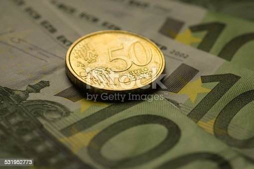 istock Euro coins and banknotes money. 531952773