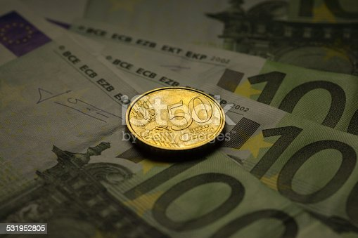 istock Euro coins and banknotes money. 531952805