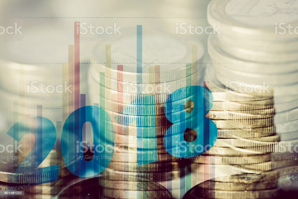 euro coins and number 2018, as the new year stock photo