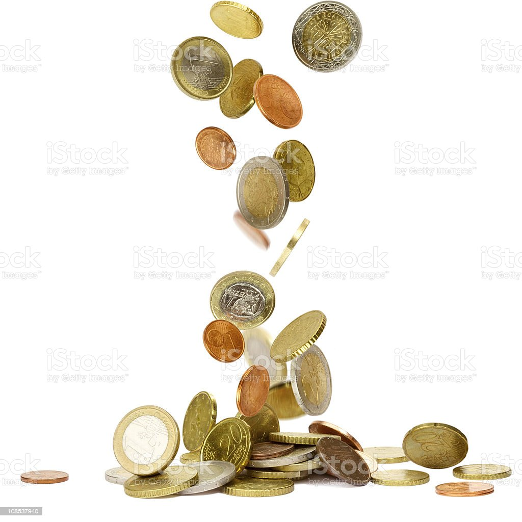 Euro coins being dropped against a white background stock photo