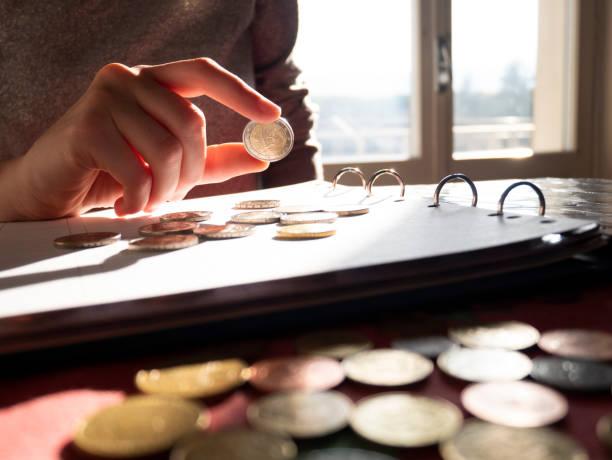 Euro coins collection stock photo