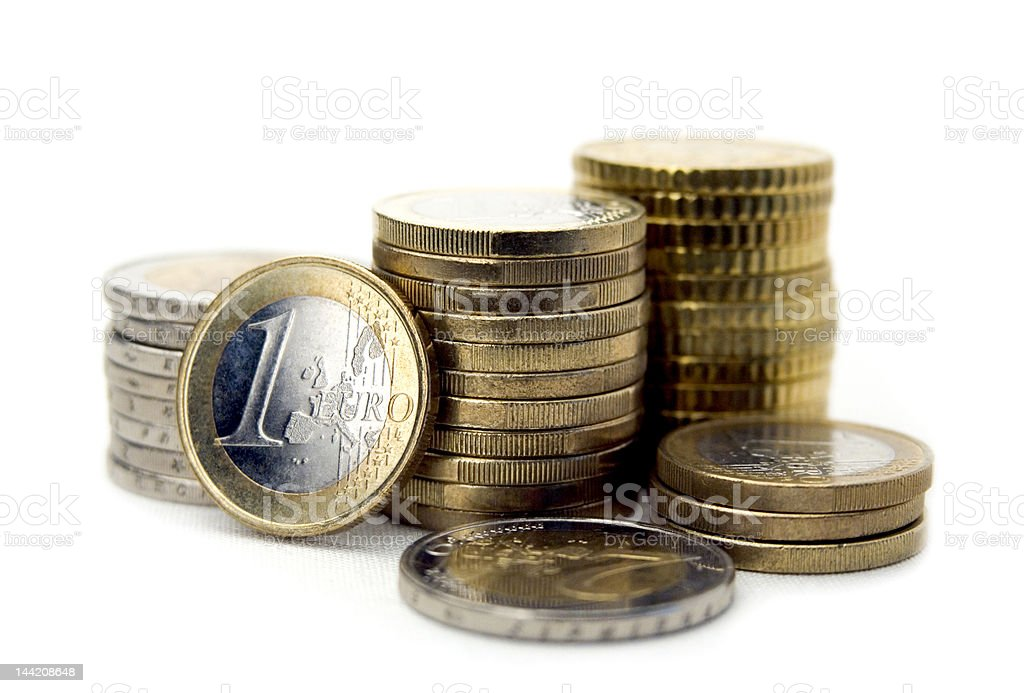 Euro coins isolated on white backgorund. Close-up. stock photo