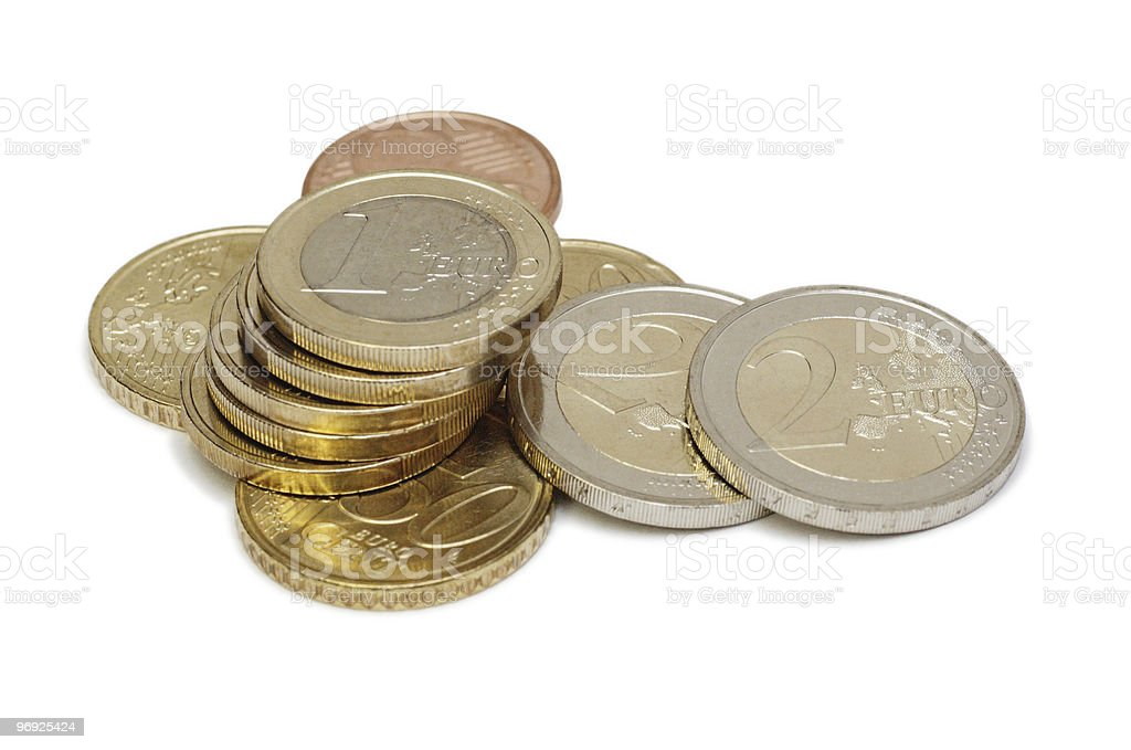 Euro coins isolated on white royalty-free stock photo