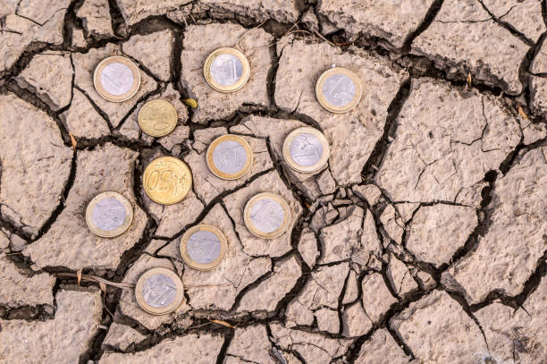 Euro coins on dry ground. stock photo