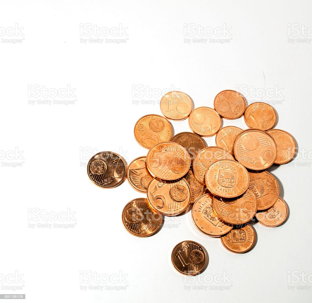 Euro coins - one, two and five cent money stock photo