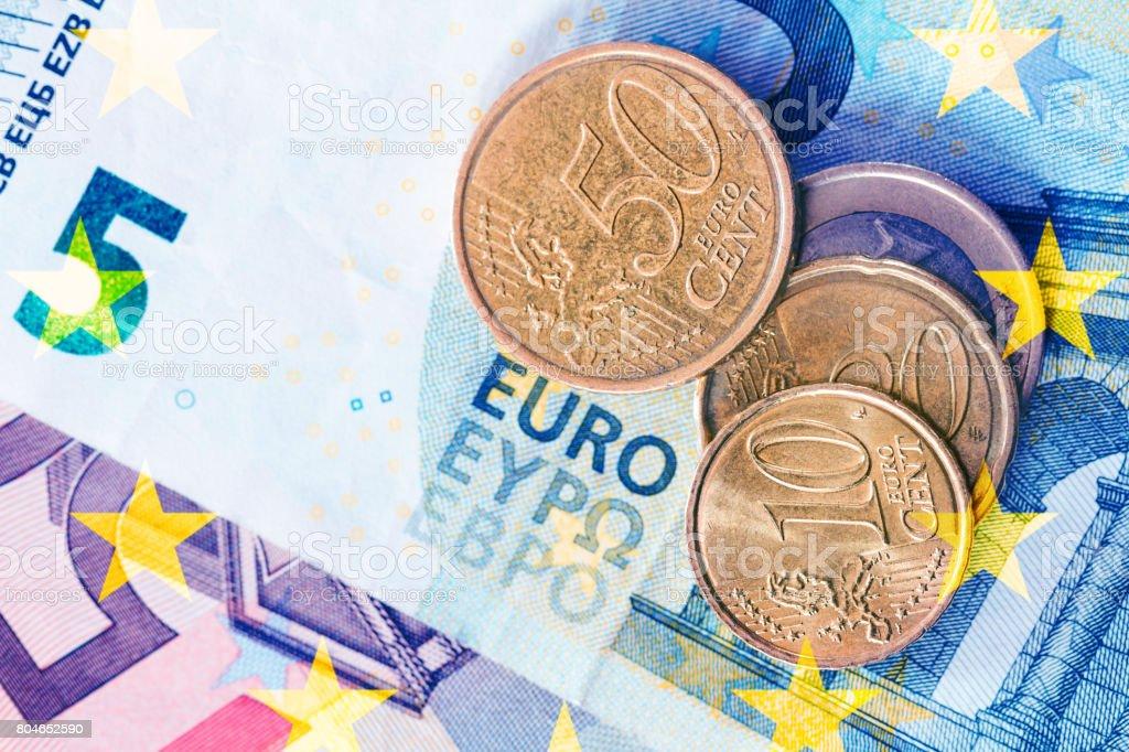 euro coins top view stock photo