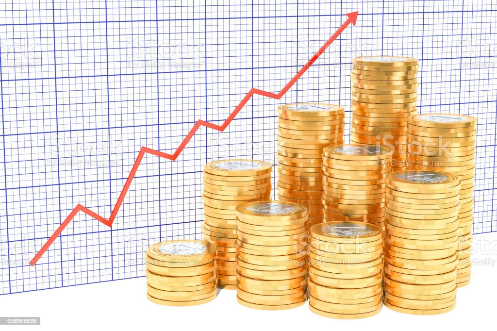 Euro coins with growing chart. 3D rendering stock photo