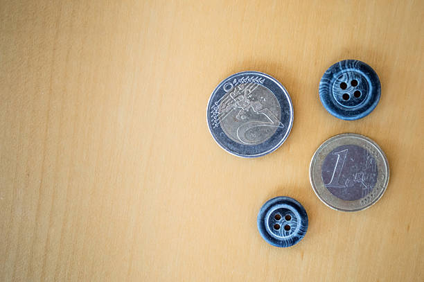 Euro Coins/Cash and Buttons Overhead View stock photo