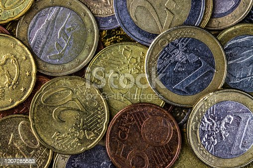 1039640896 istock photo Euro coints background. 1207285583
