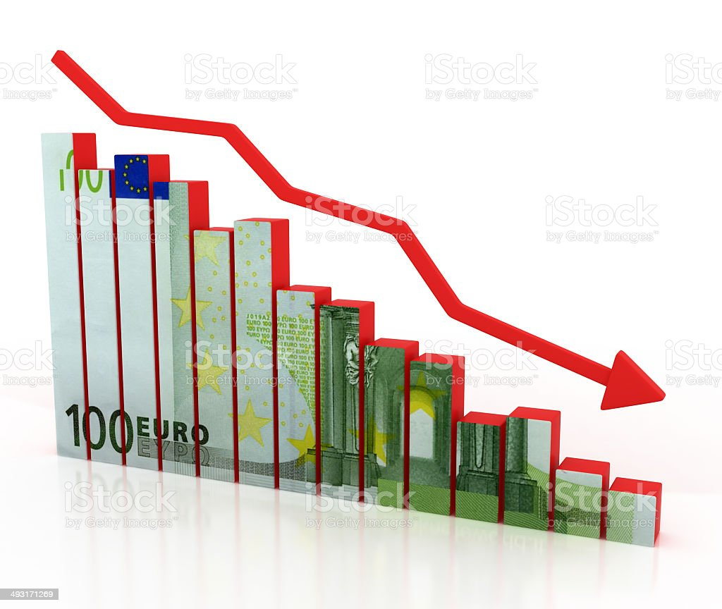 euro crash, financial crisis stock photo