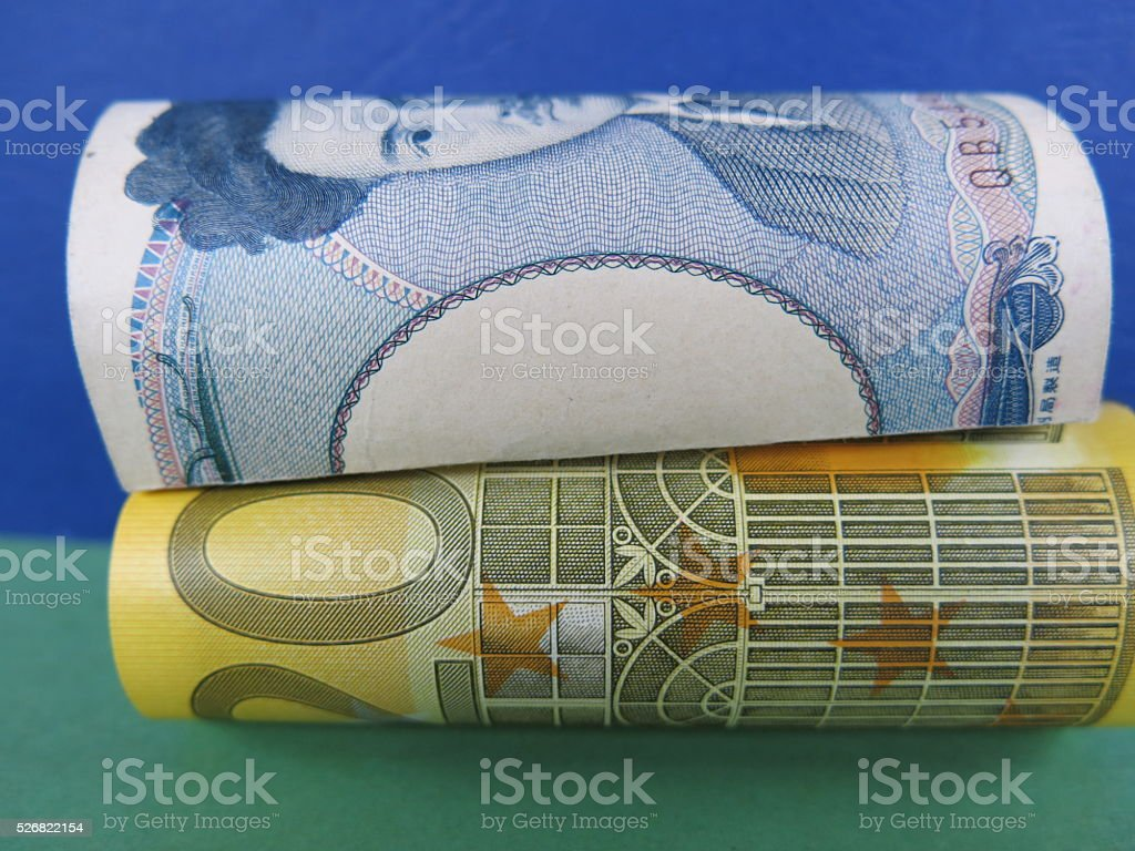 Euro currency and Japanese yen exchange rate stock photo