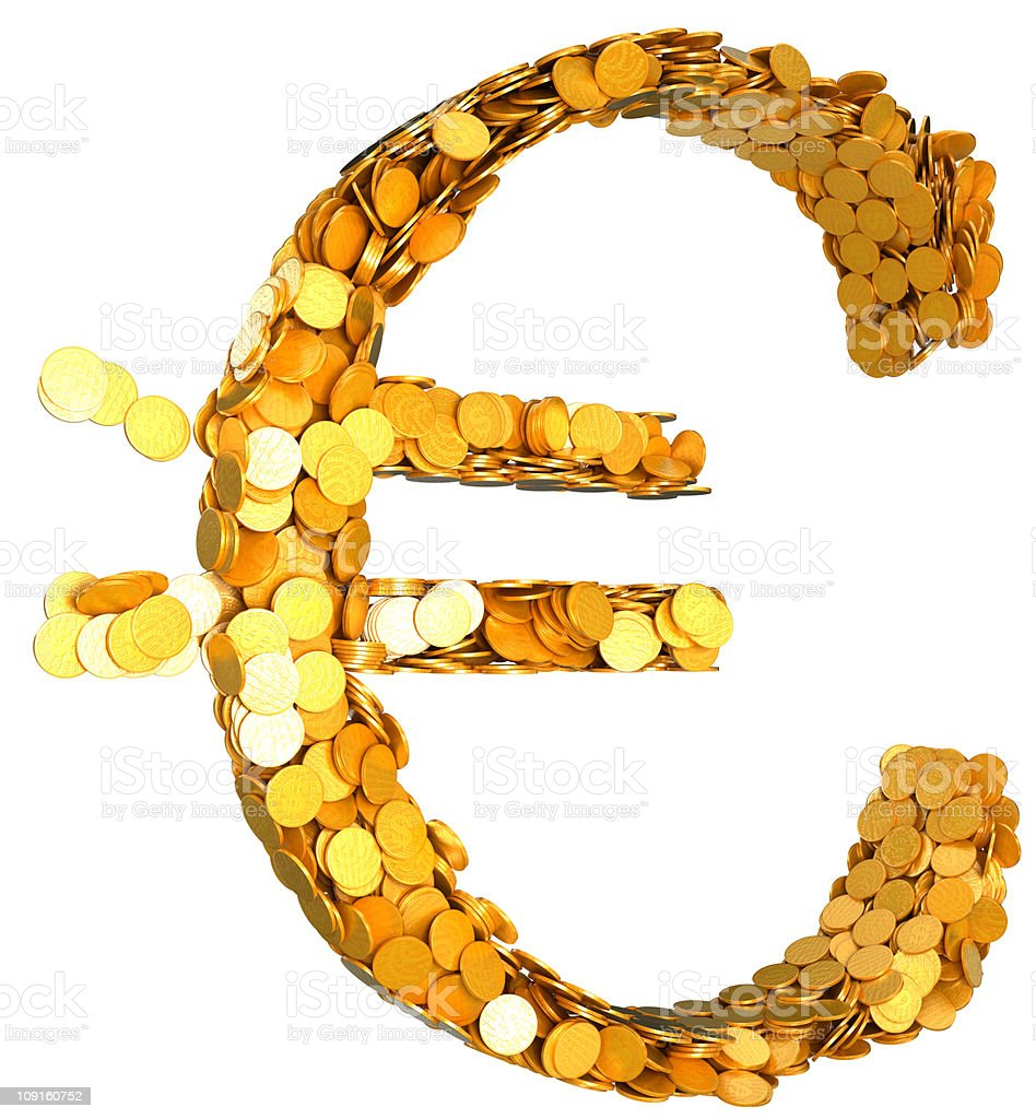 Euro currency and wealth. Symbol shaped with coins royalty-free stock photo
