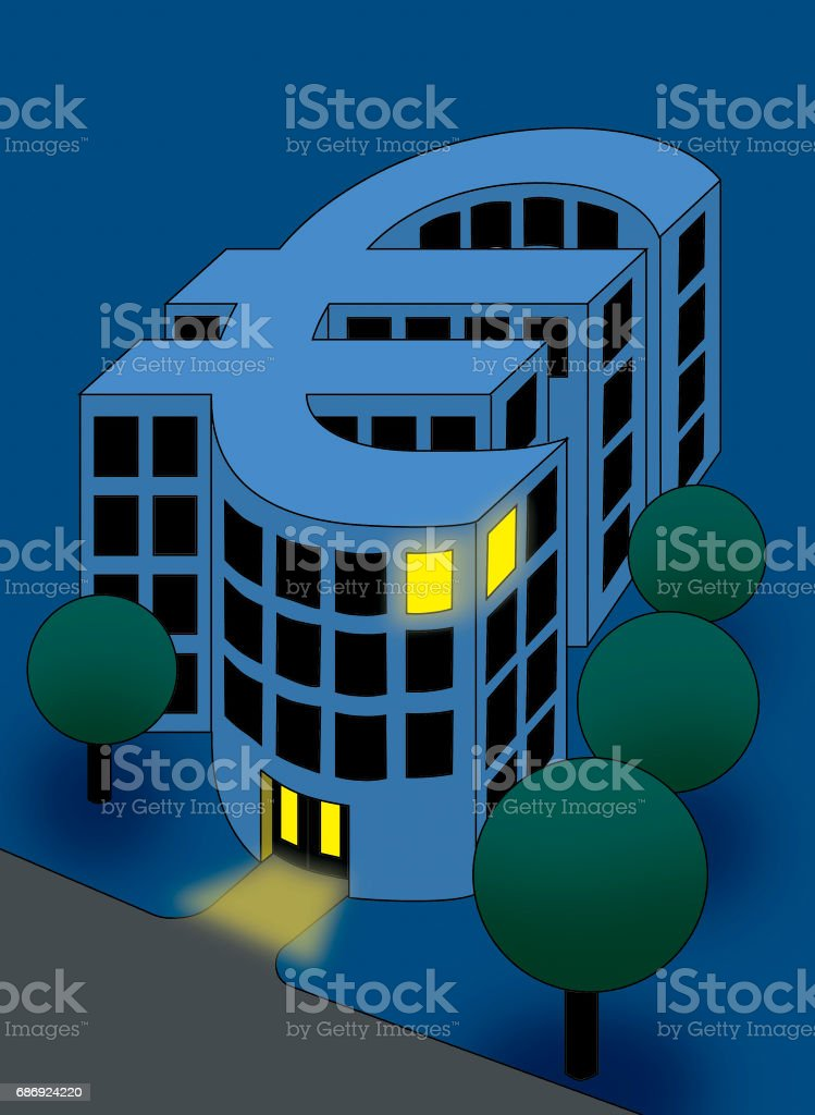 Euro currency bank building stock photo