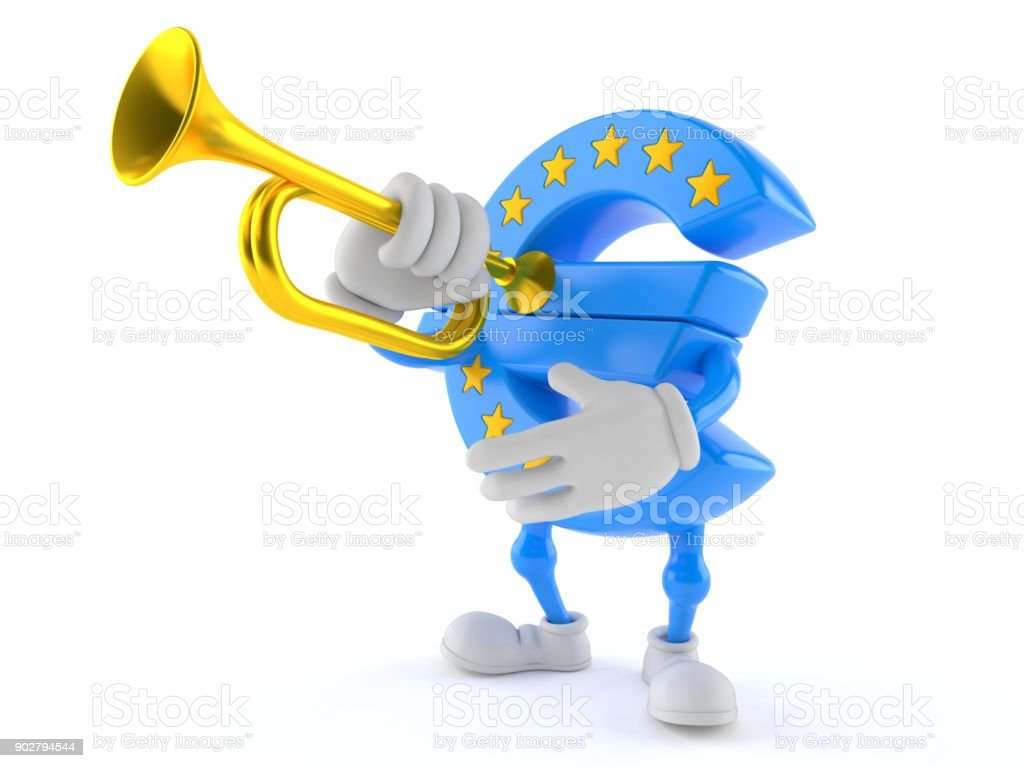 Euro currency character playing the trumpet stock photo