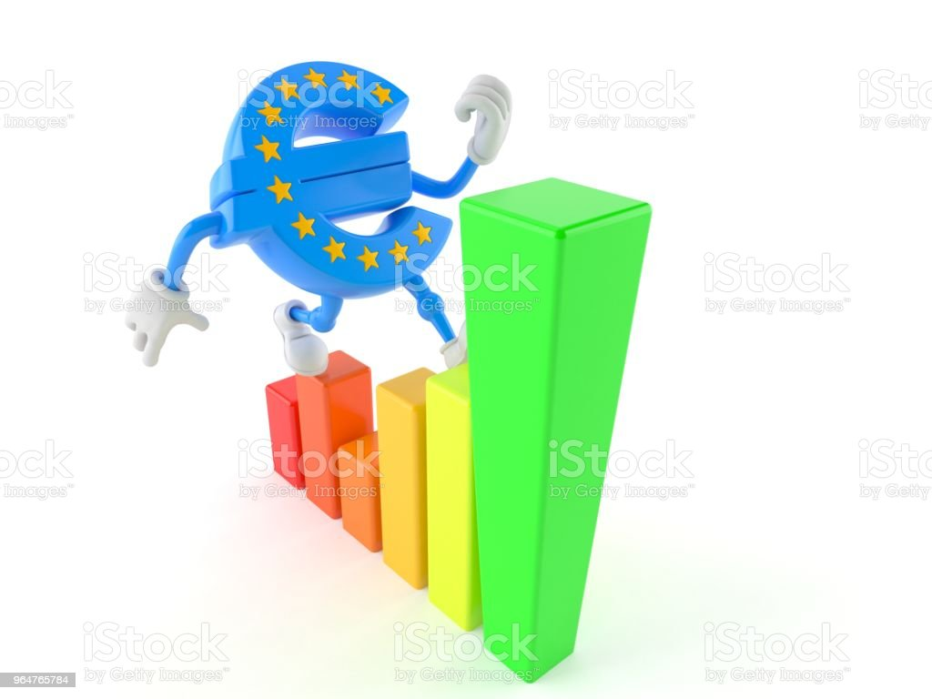 Euro currency character with chart royalty-free stock photo