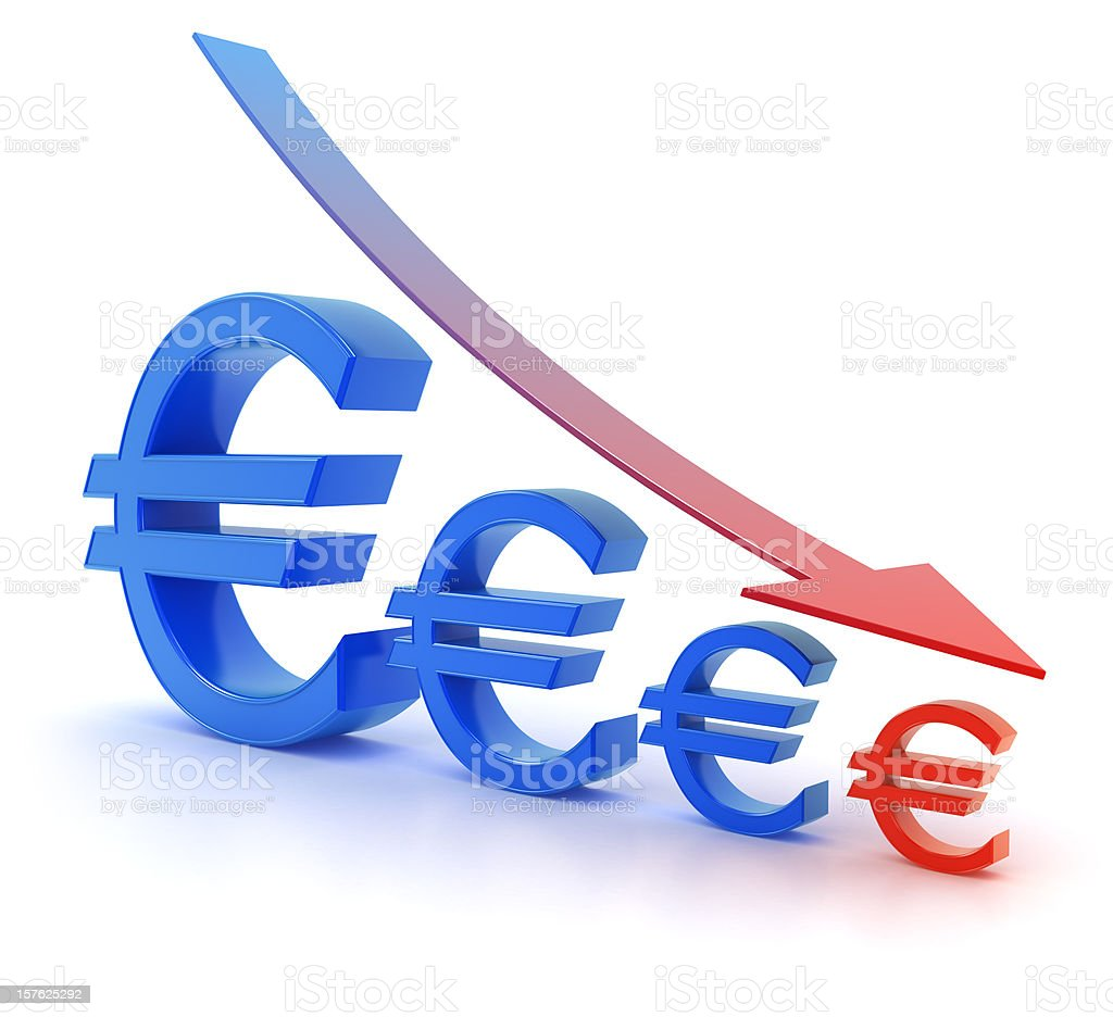 Euro currency graph decrease stock photo more pictures of arrow euro currency graph decrease royalty free stock photo biocorpaavc Images