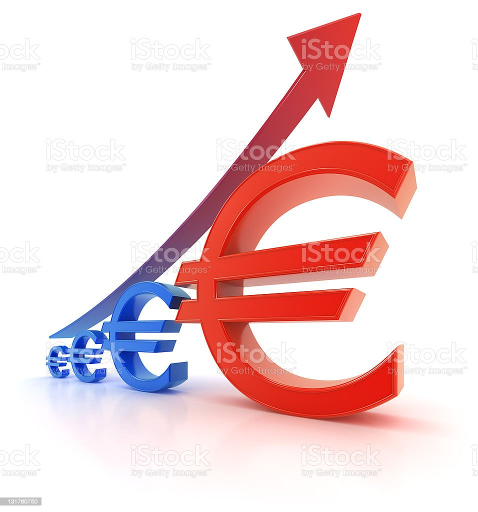 Euro currency graph - growth royalty-free stock photo