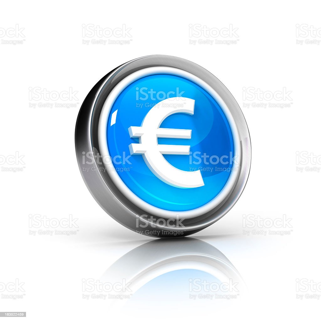 Euro currency icon with grey border and blue core stock photo