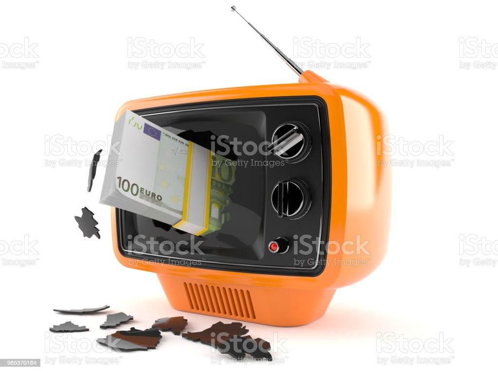 Euro currency inside tv royalty-free stock photo