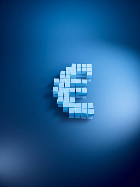 Euro Currency Symbol Blue Cubes Vertical 3D Render of a Euro currency symbol with pixelated blue cubes. Very high resolution available! Use it for Your own composings! blue 3d business NOT map NOT background stock pictures, royalty-free photos & images
