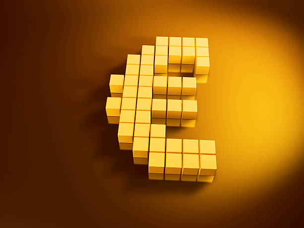 Euro Currency Symbol Golden Cubes 3D Render of an Euro currency symbol with pixelated golden cubes. Very high resolution available! Use it for Your own composings!Related images: golden cube stock pictures, royalty-free photos & images
