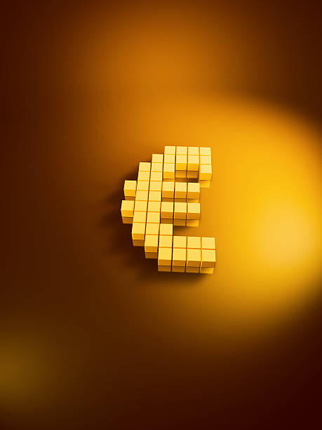 Euro Currency Symbol Golden Cubes Vertical 3D Render of an Euro currency symbol with pixelated golden cubes. Version with copy space. Very high resolution available! Use it for Your own composings!Related images: golden cube stock pictures, royalty-free photos & images