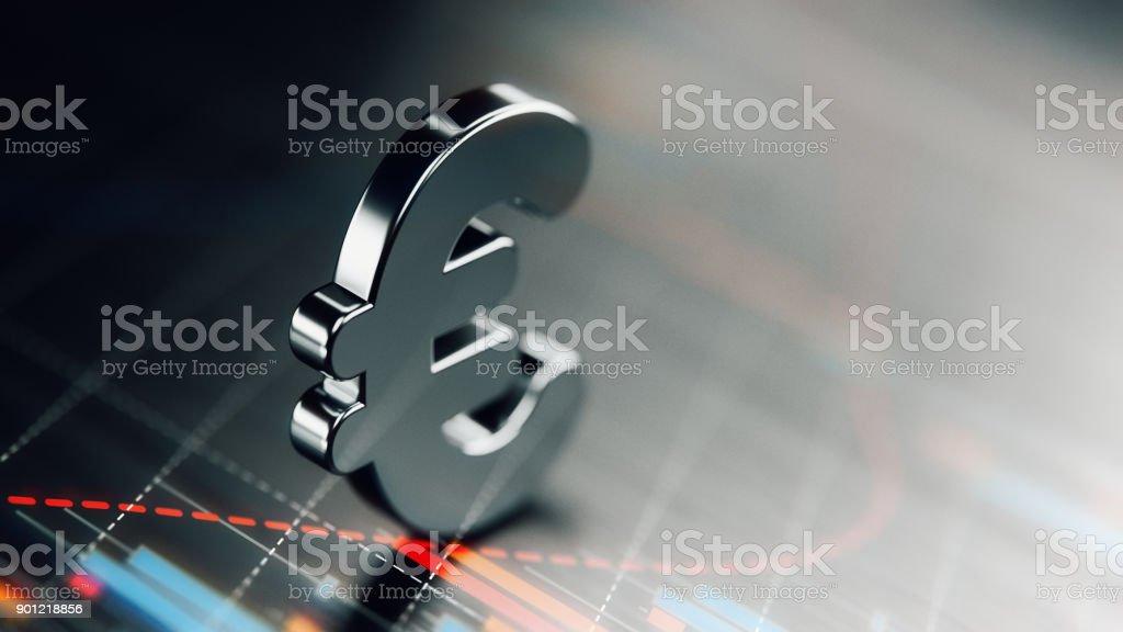 Símbolo de moneda euro con elementos gráficos financieros sobre fondo oscuro - foto de stock