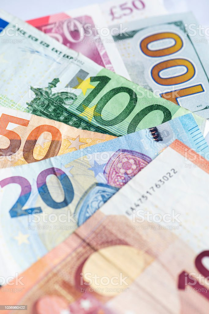 Euro Currency with £50 and 100$ stock photo