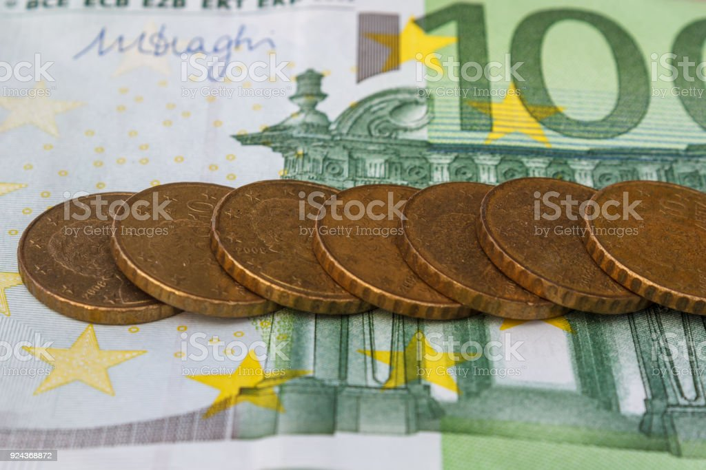 Euro Dollars Money Coins Are Dollar Currency The Concept Of Bills Stacked On Each Other In Different Positions With