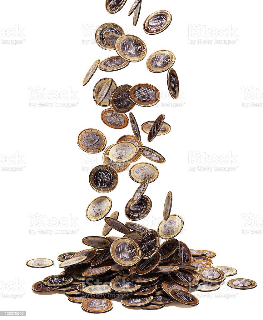Euro falling stock photo