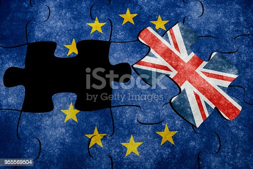 Euro flag with Union Jack puzzle concept