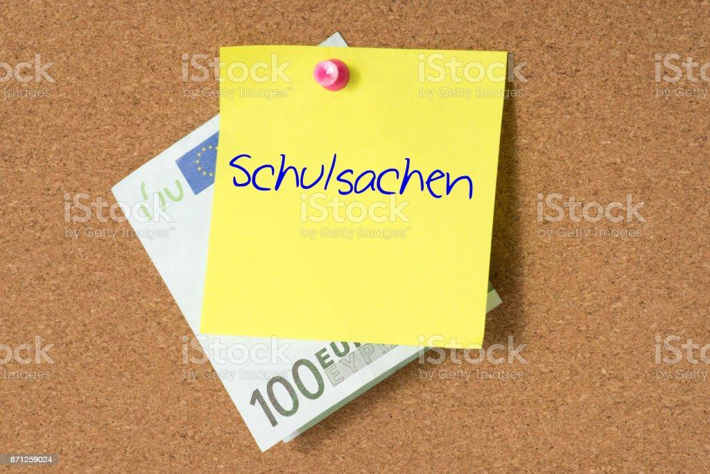 Euro Geld für Schulsachen stock photo