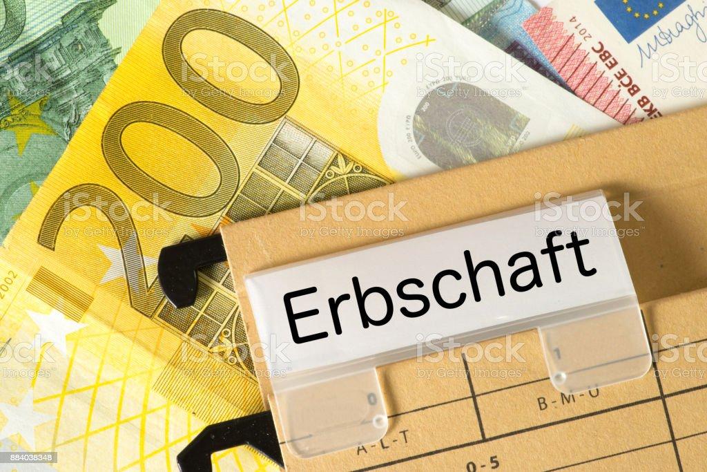 Euro-Geldscheine Und sterben Erbschaft – Foto