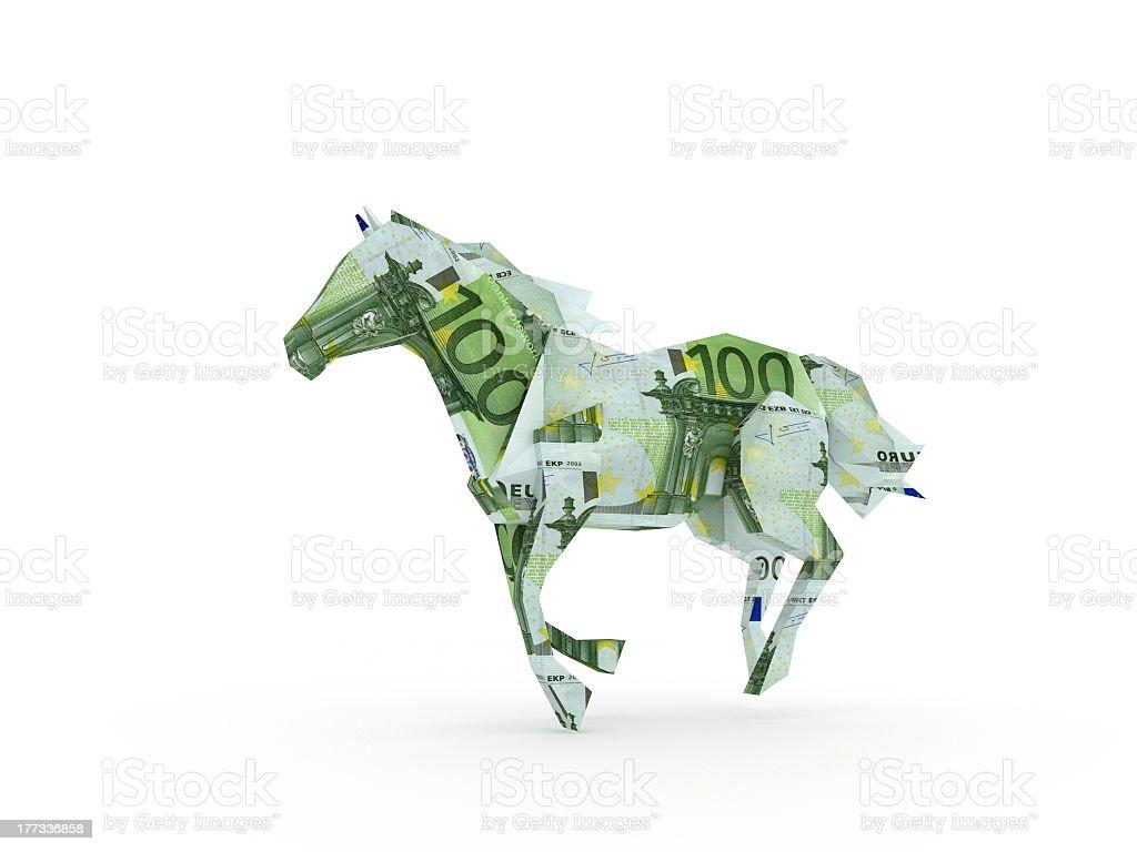 Euro horse symbolizing the power of money stock photo