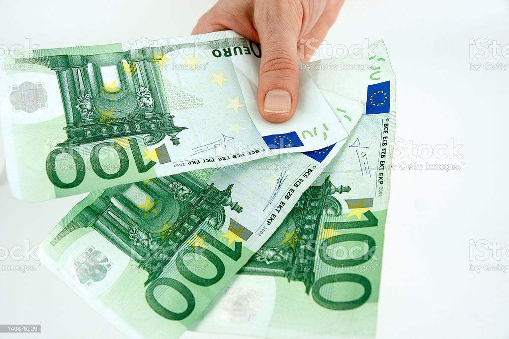 Euro in hand stock photo