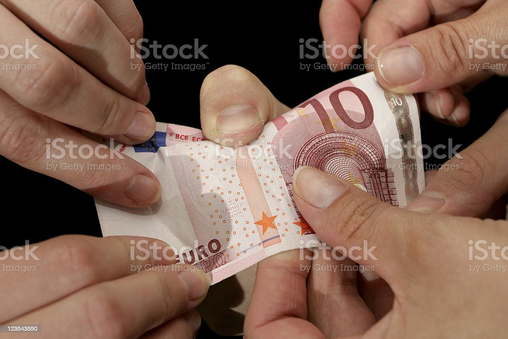 Euro in hands royalty-free stock photo